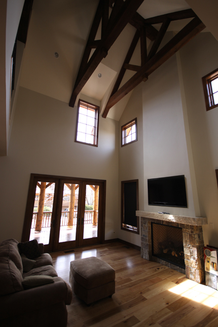 exposed beams great room