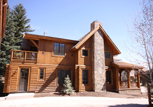 exterior log home finish basalt colorado